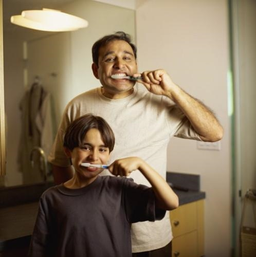 Turning off the faucet while you're brushing your teeth can save gallons of water each month.